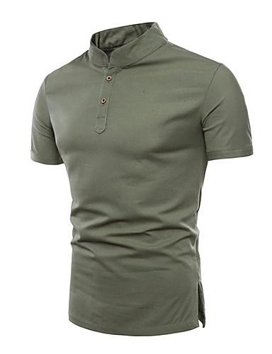 levne Pánská polo trika-Pánské - Jednobarevné Větší velikosti Polo Černá / Krátký rukáv