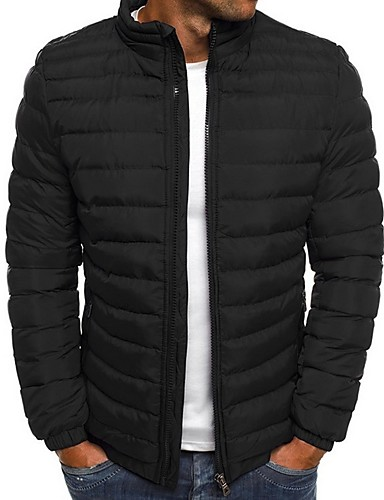 cheap Men's Downs & Parkas-Men's Solid Colored Padded, Polyester Black / Royal Blue / Red S / M / L