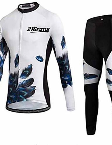 povoljno Odjeća za vožnju biciklom-21Grams Muškarci Dugih rukava Biciklistička majica s tajicama Crno bijela  / Perje Bicikl Sportska odijela Ugrijati UV otporan Prozračnost Quick dry Anatomski dizajn Zima Sportski Poliester Perje