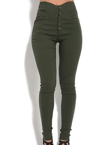 cheap Women's Bottoms-Women's Basic Slim Pants - Solid Colored Button Black Brown Green S M L / High Waist