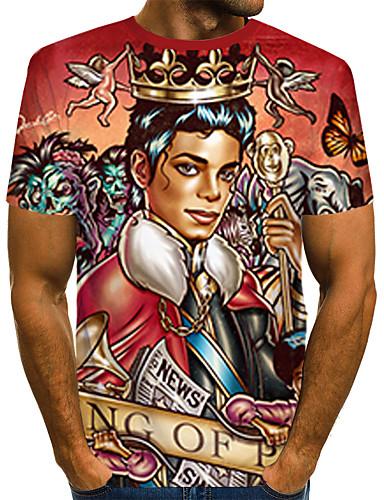 voordelige Heren T-shirts & tanktops-Heren Rock / Street chic Print T-shirt Kleurenblok / 3D / Portret Regenboog