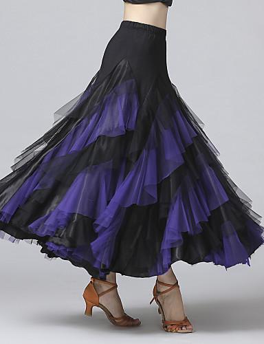 cheap Ballroom Dancewear-Ballroom Dance Skirts Cascading Ruffles Split Joint Women's Training Performance Natural Mesh Chiffon Milk Fiber