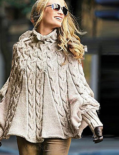 billige Gensere til damer-Dame Ensfarget Langermet Løstsittende Pullover Genserjumper, Rullekrage Kakifarget S / M / L