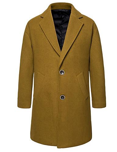 levne Pánské módní oblečení-Pánské Denní Dlouhé Bunda, Jednobarevné Klasické klopy Dlouhý rukáv Polyester Velbloudí