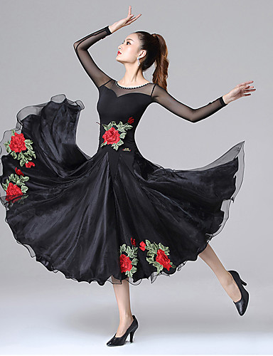 preiswerte Strictly come dancing dresses-Für den Ballsaal Kleider Damen Training / Leistung Elasthan / Chinlon / Gitter Stickerei / Kombination / Kristalle / Strass Langarm Kleid