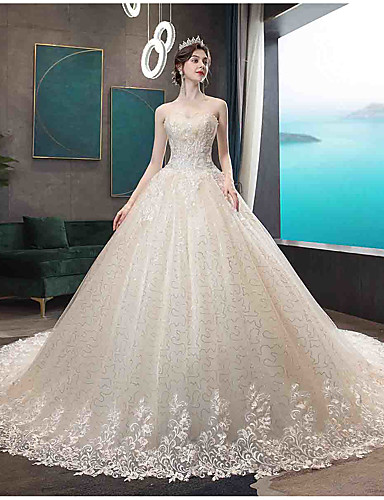 cheap Wedding Dresses-Ball Gown Strapless Court Train Tulle Strapless Country / Glamorous Illusion Detail Wedding Dresses with Beading / Appliques 2020