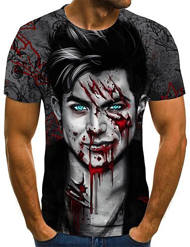voordelige Uitverkoop-Heren Street chic Geplooid / Print T-shirt 3D / Cartoon / Portret Zwart