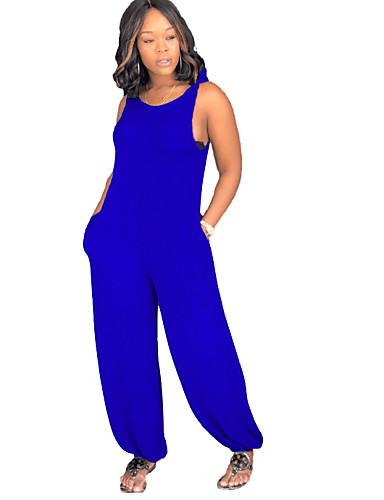 billige Jumpsuits og sparkebukser til damer-Dame Svart Blå Rød Sparkedrakter, Ensfarget M L XL