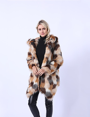 preiswerte Pelzmäntel-Damen Ausgehen Winter / Herbst Winter Lang Pelzmantel, Einfarbig Mit Kapuze Langarm Kunst-Pelz Regenbogen