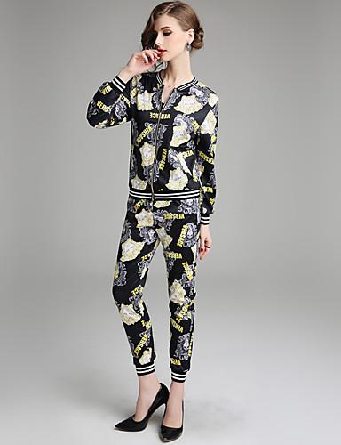 billige Todelt dress til damer-Dame Vintage Sett Bukse - Trykt mønster, Bokstaver