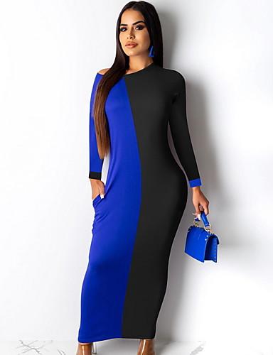 levne Maxi šaty-Dámské Základní Pouzdro Šaty - Barevné bloky Maxi