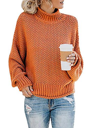 billige Dametopper-Dame Ensfarget Langermet Pullover Genserjumper, Rullekrage Høst / Vinter Bomull Svart / Vin / Oransje S / M / L