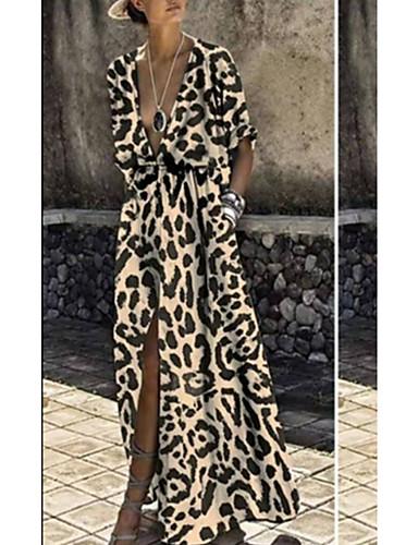 levne Maxi šaty-Dámské Swing Šaty - Leopard Asymetrické