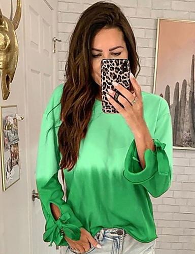 billige T-skjorter til damer-T-skjorte Dame - Ensfarget, Trykt mønster Lilla