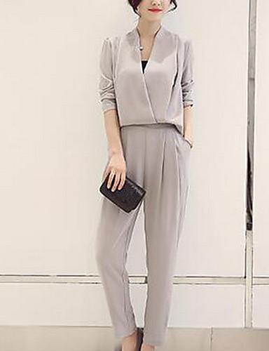 preiswerte Anzüge-Damen Anzüge, Solide V-Ausschnitt Polyester Schwarz / Rote / Marineblau