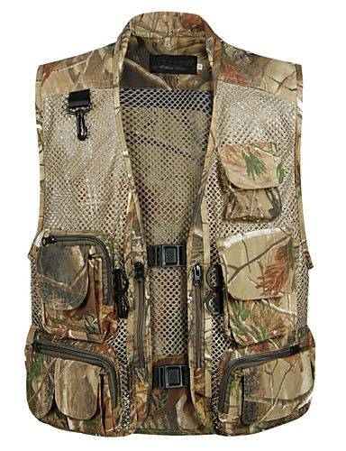 cheap Softshell, Fleece & Hiking Jackets-Men's Hiking Vest / Gilet Fishing Vest Outdoor Camo Lightweight Breathable Quick Dry Wear Resistance Top Mesh Single Slider Camping / Hiking Hunting Fishing Black / Brown / Desert Camouflage