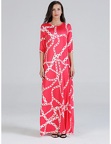 voordelige Maxi-jurken-Dames Standaard Schede Jurk - Geometrisch, Print Maxi Rood