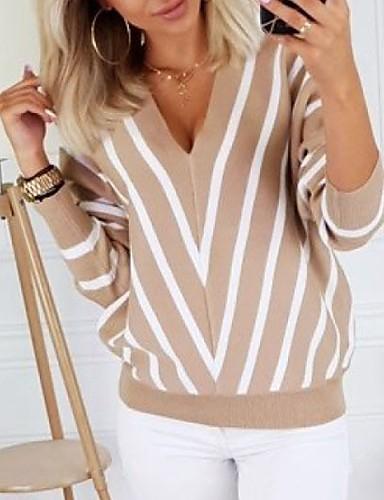 billige Gensere til damer-Dame Stripet Langermet Pullover Genserjumper, V-hals Svart / Hvit / Beige S / M / L