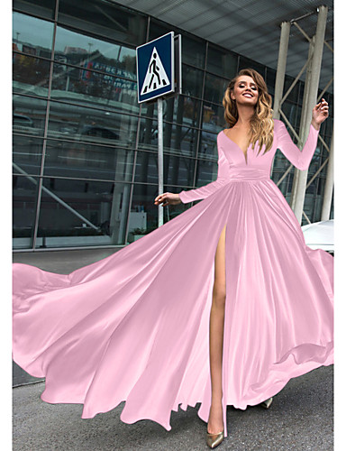cheap Evening Dresses-A-Line Empire Minimalist Holiday Formal Evening Dress V Neck Long Sleeve Floor Length Chiffon with Split Front 2020