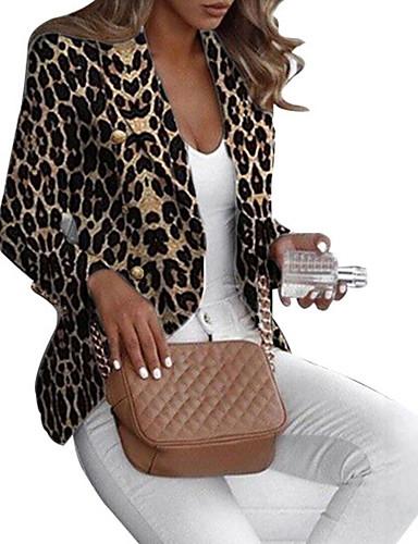 levne Dámské blejzry a bundy-Dámské Blejzr, Leopard Klasické klopy Polyester Hnědá