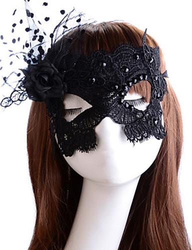 preiswerte Faschingskostüme-Maske Venezianische Maske Maskenmaske Inspiriert von Prinzessin Cosplay Schwarz Sexy Prinzessin Halloween Karneval Maskerade Erwachsene Damen Weiblich / Federmaske / Halbe Maske