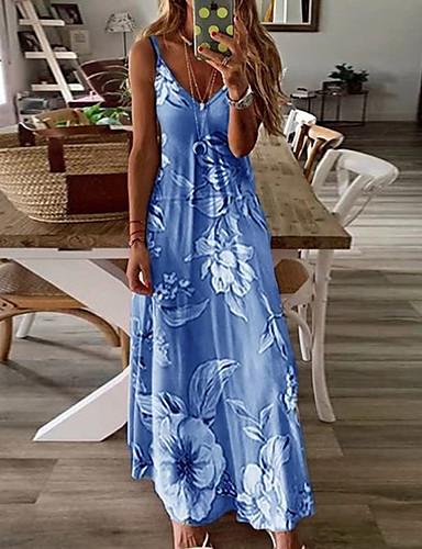 cheap Print Dresses-Women's Maxi long Dress - Sleeveless Floral Print Summer V Neck Holiday Vacation Beach Slim 2020 Fuchsia Sky Blue Light gray Light Green Light Blue Light Pink S M L XL XXL