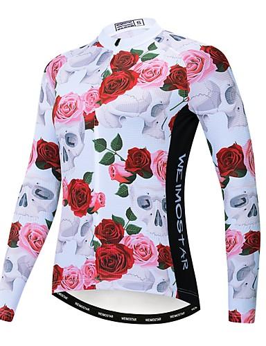 povoljno Odjeća za vožnju biciklom-WEIMOSTAR Cvjetni / Botanički Žene Dugih rukava Biciklistička majica - Rose Red Bicikl Biciklistička majica Majice Ugrijati Prozračnost Quick dry Sportski Zima Poliester Elastan Terilen Brdski