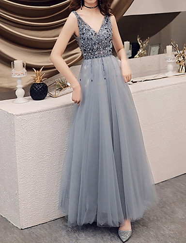 cheap Special Occasion Dresses-A-Line Open Back Prom Dress Plunging Neck Sleeveless Floor Length Tulle with Beading Sequin 2020