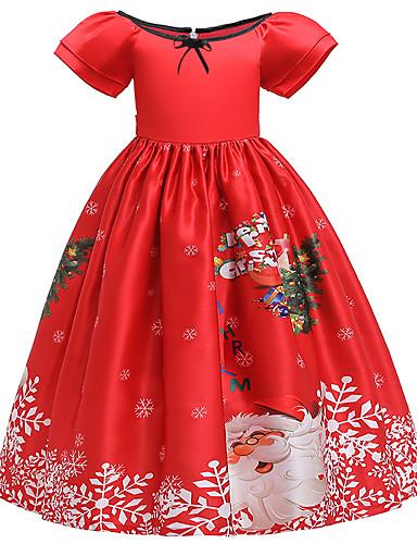 preiswerte Kindermode-Kinder Mädchen Aktiv Süß Schneeflocke Weihnachten Druck Kurzarm Midi Kleid Rote