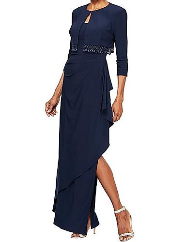voordelige Wrap Dresses-Strak / kolom Scoop Neck Tot de grond Jersey Bruidsmoederjurken met Kralen / Split voorzijde door LAN TING Express / Bel / Wrap inbegrepen