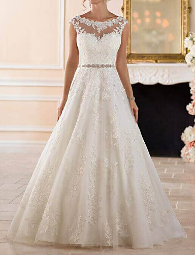 cheap Wedding Dresses-A-Line Bateau Neck Sweep / Brush Train Lace Cap Sleeve Glamorous See-Through / Illusion Detail Wedding Dresses with Sashes / Ribbons / Beading / Appliques 2020