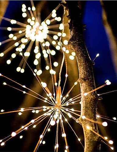 cheap 11.11 - LED String Lights Best Sale-Waterproof 40 Branches 200LED Solar Power Hanging Starburst Lights LED Fireworks lamp LED Broom Copper Wire Warm White Lantern Creative Party Festival Decor
