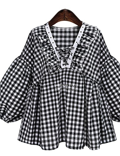 billige Dametopper-Skjorte Dame - Rutet Svart
