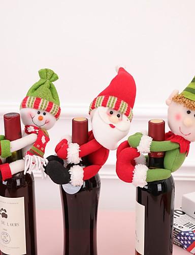 preiswerte Neue im Sortiment-Weihnachtszusätze 1pcs Weinflasche Weihnachtsmann-Schneemannflaschenset Weihnachtsabendessendekoration des neuen Jahres