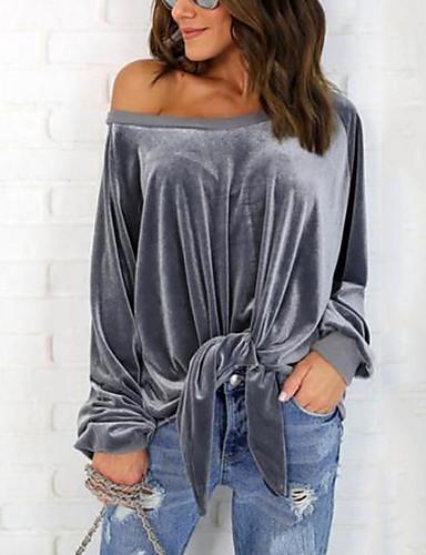 billige T-skjorter til damer-T-skjorte Dame - Ensfarget, Sløyfe Grunnleggende Vin