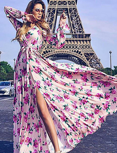 Жен. Классический С летящей юбкой Платье - Цветочный принт Макси