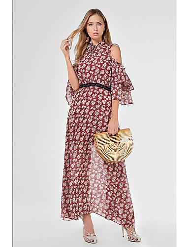 voordelige Maxi-jurken-Dames Standaard Schede Jurk - Bloemen, Met ruches Patchwork Print Maxi Rood