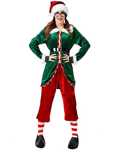 preiswerte Herrenbekleidung-FrauClaus Weihnachtskleid Erwachsene Damen Weihnachten Halloween Fest / Feiertage Flanell Grün Damen Karneval Kostüme / Top / Hosen / Socken / Hut / Schuh