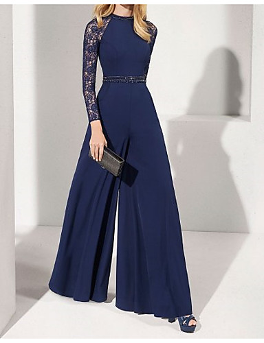 cheap Special Occasion Dresses-Jumpsuits Elegant Blue Wedding Guest Formal Evening Dress Jewel Neck Long Sleeve Floor Length Chiffon with Sash / Ribbon Beading 2020