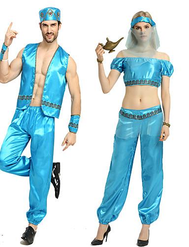 povoljno Maske i kostimi-Aladdin Cosplay Nošnje Izgledi Povorka maski Odrasli Par je Cosplay Halloween Halloween Festival / Praznik Polyster Plava / Pale Blue Par je Karneval kostime / Kostim