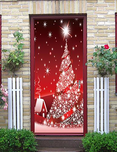 billige Veggklistremerker-julepynt kreativ dørpasta dekorativ veggpasta - flat vegglim julepynt (størrelse 38,5 * 200 cm * 2 stk)