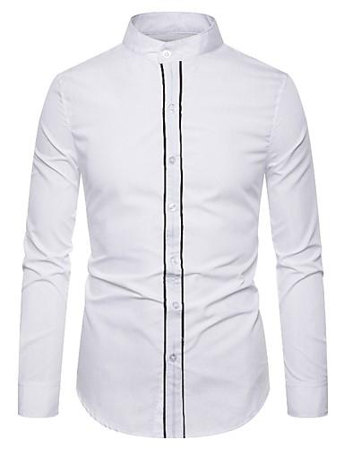 levne Pánské košile-Pánské - Jednobarevné / Písmeno Cikánský / Elegantní Košile, Tisk Černá