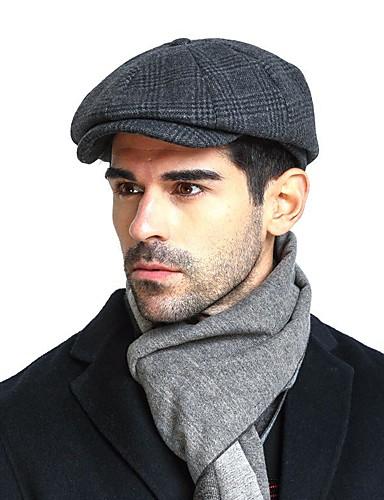cheap Men's Hats-Men's Basic Cashmere Cotton Acrylic Beret Hat Floppy Hat-Color Block Fall Winter Navy Blue