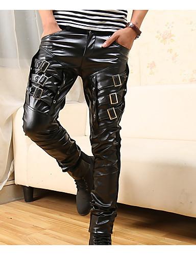 preiswerte Herrenhosen und Shorts-Herrn Grundlegend Schlank Chinos Hose - Muster Schwarz US32 / UK32 / EU40 US34 / UK34 / EU42 US36 / UK36 / EU44