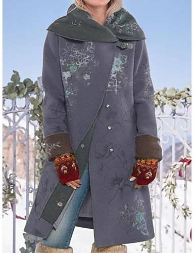voordelige Damesjassen & trenchcoats-Dames Dagelijks Standaard Winter Lang Jas, Planten Strijkijzer Lange mouw Polyester Wijn / Bruin / Klaver