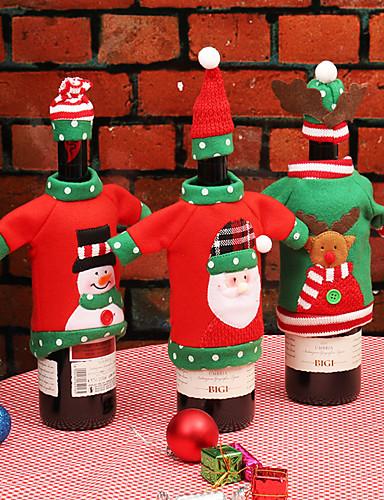 preiswerte Drinkware Zubehör-Wein Beutel & Träger / Geschenktaschen / Dekorationskits Urlaub / Familie Baumwollflanell Cartoon Design / Party Weihnachtsdekoration