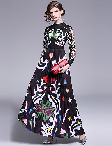 levne Maxi šaty-Dámské Cikánský Elegantní Swing Šaty - Leopard Pléd, Plisé Tisk Maxi