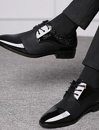 billige Oxford-sko til herrer-Herre Komfort Sko PU Sommer Oxfords Pustende Svart / Brun