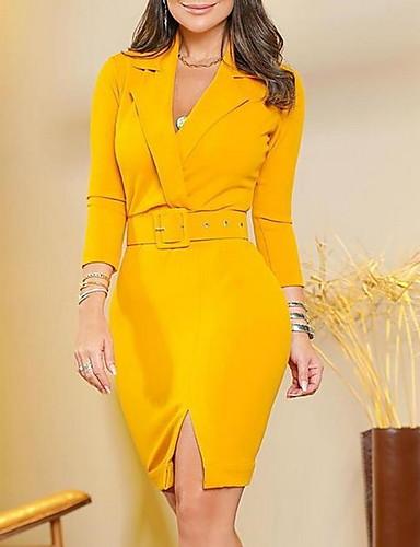 Жен. Элегантный стиль Оболочка Платье - Однотонный Выше колена