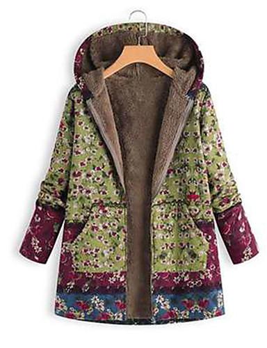 billige Dametopper-Dame Fritid Hoodie Jacket Blomstret